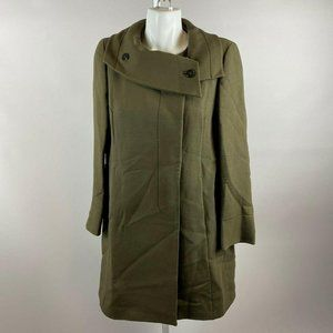 SportMax Olive Green Structured Coat Large Collar